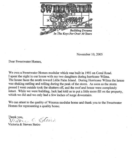 Testimonial letter from Victoria and Steven Steiro
